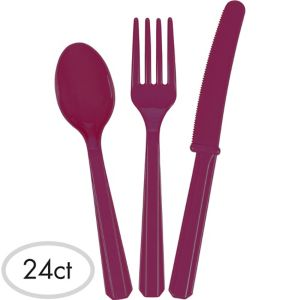 Berry Plastic Cutlery Set 24ct