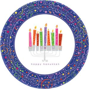 Playful Menorah Hanukkah Dinner Plates 8ct