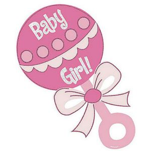 Baby Girl Rattle Glitter Cutout 13in