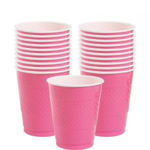 Bright Pink Plastic Cups 20ct