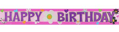 Metallic Flower Happy Birthday Banner