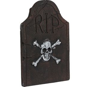 Skull and Crossbones Tombstone Decoration