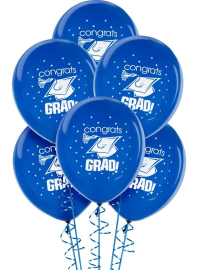 Royal Blue Graduation Balloons 15ct