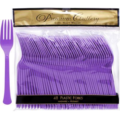 Purple Premium Plastic Forks 48ct