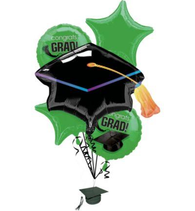 Green Graduation Balloon Bouquet 6pc