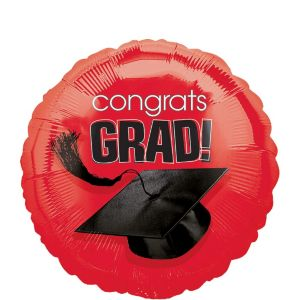 Red Graduation Balloon - Congrats Grad