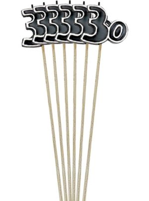 Black Number 30 Birthday Toothpick Candles 6ct