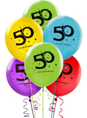 50th Birthday Balloons 15ct - The Party Continues