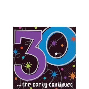 The Party Continues 30th Birthday Beverage Napkins 16ct