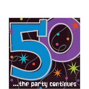 The Party Continues 50th Birthday Lunch Napkins 16ct