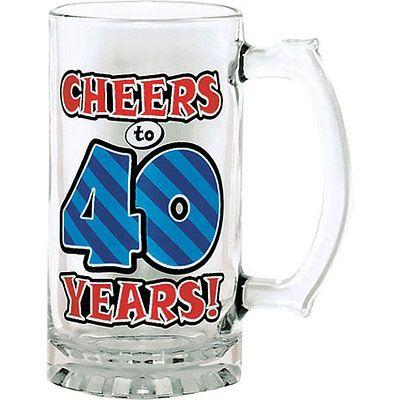 40th Birthday Glass Tankard 15oz