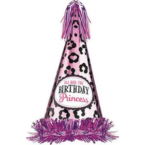 Pink Cheetah Birthday Princess Party Hat