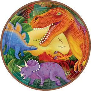 Prehistoric Dinosaurs Metallic Lunch Plates 8ct