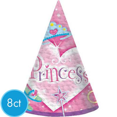 Princess Prismatic Party Hats 8ct