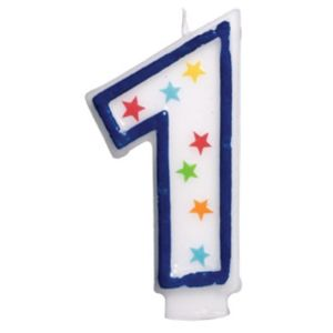 Glitter Blue Outline Number 1 Birthday Candle