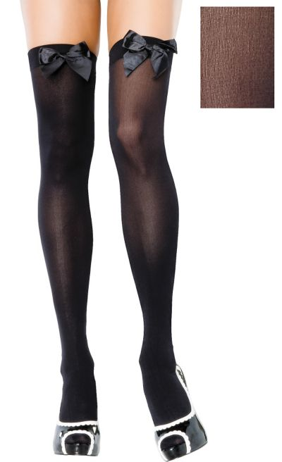 Adult Black Opaque Thigh High Stockings with Bows