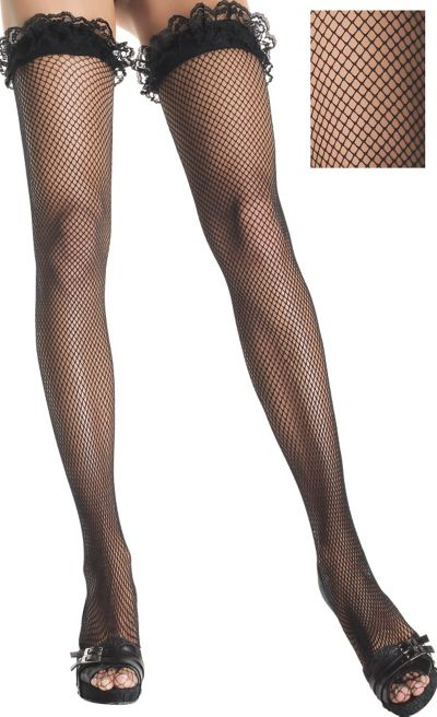 Adult Black Fishnet Thigh High Stockings with Attached Garters
