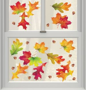 Autumn Breeze Fall Leaves Cling Decals 12ct