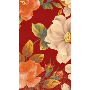 Classic Floral Red Guest Towels 16ct