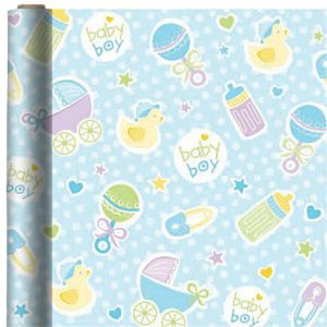 Jumbo Baby Boy Blue Gift Wrap