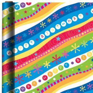 Jumbo Groovy Stripes Birthday Gift Wrap