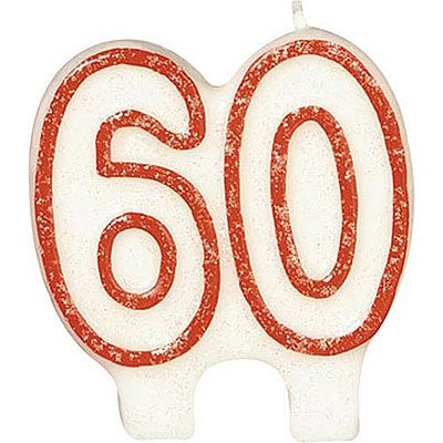 Red Outline Glitter Number 60 Birthday Candle