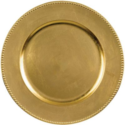 Gold Metallic Round Plastic Charger