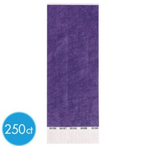 Purple Paper Wristbands 250ct