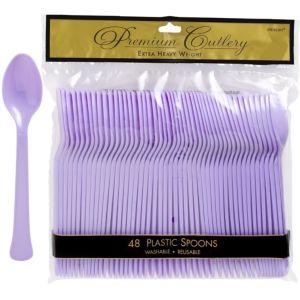 Lavender Premium Plastic Spoons 48ct