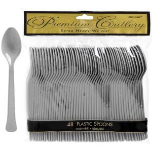 Silver Premium Plastic Spoons 48ct