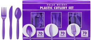 Big Party Pack Purple Plastic Cutlery Set 210ct