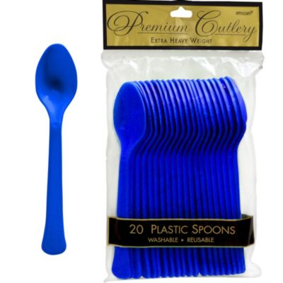Royal Blue Premium Plastic Spoons 20ct