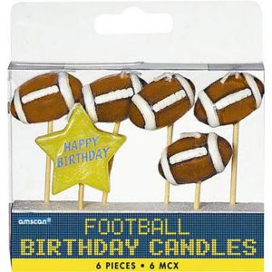 Football Birthday Candle Picks 6ct