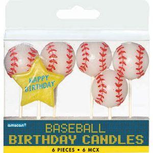 Baseball Birthday Candles 6ct