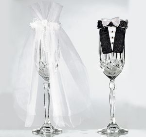 Bride & Groom Wedding Champagne Flute Covers 2pc