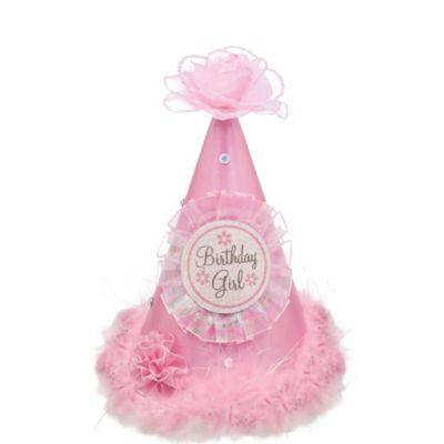 Pink Rose Birthday Girl Party Hat