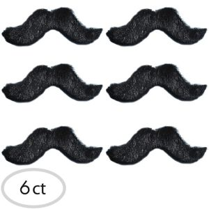 Small Black Handlebar Moustaches 6ct