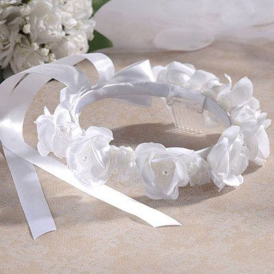 Girl's White Rose Headwreath