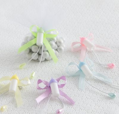 Multicolor Bottle Baby Shower Favor Ties 6ct