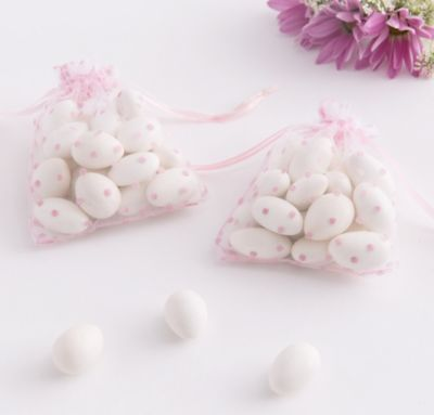 Pink Dot Organza Baby Shower Favor Bags 12ct