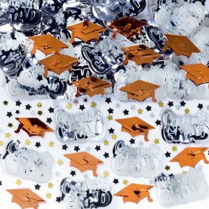 Metallic Orange Graduation Confetti