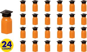 Orange Graduation Cap Mini Bubbles 24ct