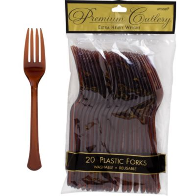 Chocolate Brown Premium Plastic Forks 20ct