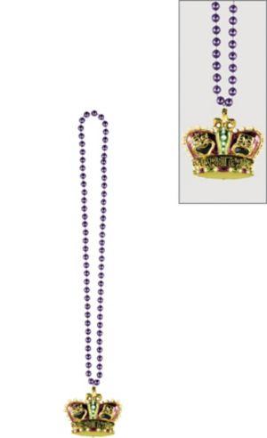 Gold Crown Mardi Gras Pendant Bead Necklace