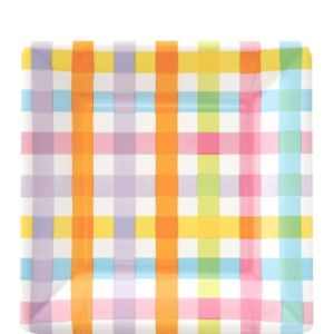 Colorful Gingham Square Dessert Plates 8ct