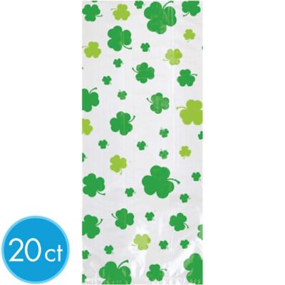 Shamrock-Print St. Patrick's Day Treat Bags 20ct