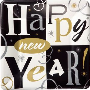 New Year's Block Party Dessert Plates 8ct