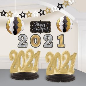 Black, Gold & Silver 2018 New Year's Room Decorating Kit 10pc