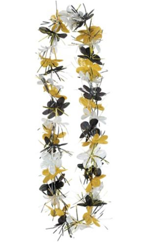 Black, Gold & Silver Tinsel Flower Lei