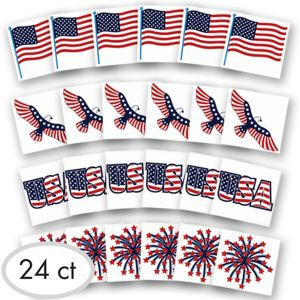 Patriotic American Flag Tattoos 24ct